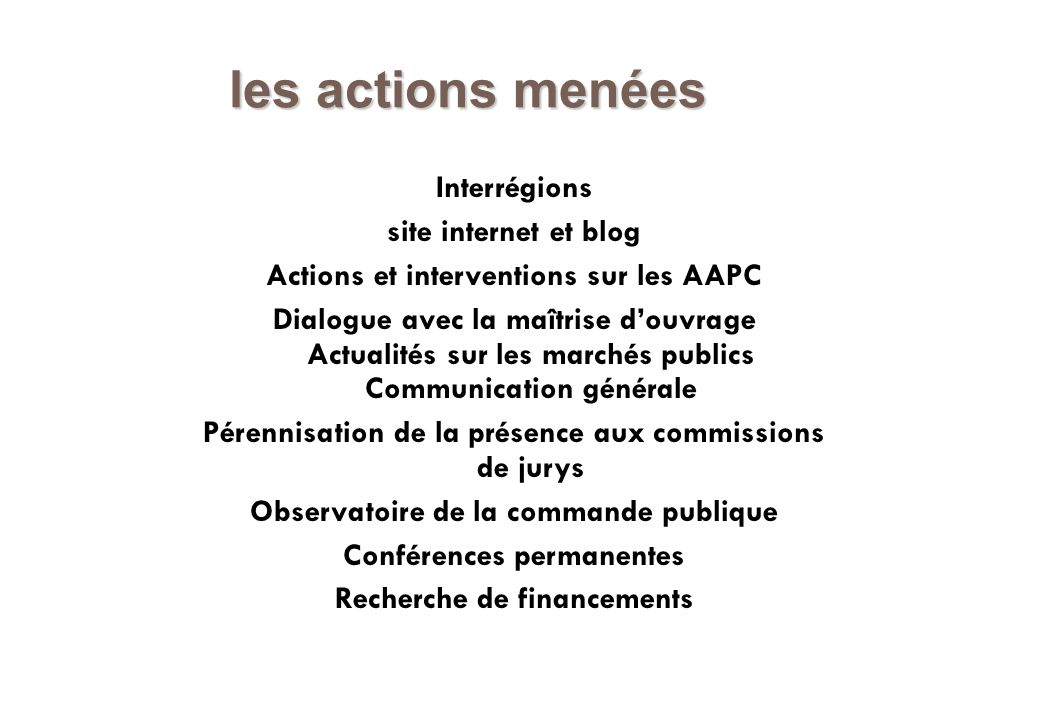 les actions menées Interrégions site internet et blog Actions et interventions sur les AAPC Dialogue avec la maîtrise douvrage Actualités sur les marc