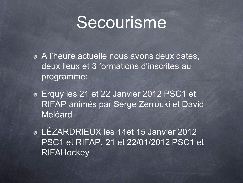 A lheure actuelle nous avons deux dates, deux lieux et 3 formations dinscrites au programme: Erquy les 21 et 22 Janvier 2012 PSC1 et RIFAP animés par