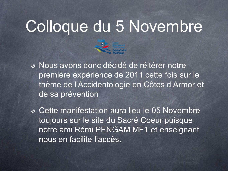 Colloque du 5 Novembre Nous avons donc décidé de réitérer notre première expérience de 2011 cette fois sur le thème de lAccidentologie en Côtes dArmor