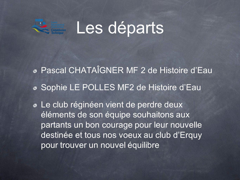 Les départs Pascal CHATAÎGNER MF 2 de Histoire dEau Sophie LE POLLES MF2 de Histoire dEau Le club réginéen vient de perdre deux éléments de son équipe