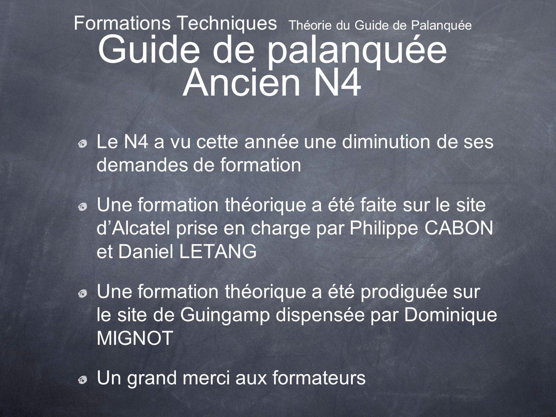 Formations Techniques Théorie du Guide de Palanquée Guide de palanquée Ancien N4 Le N4 a vu cette année une diminution de ses demandes de formation Un