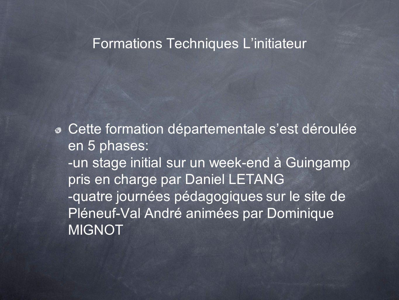 Formations Techniques Linitiateur Cette formation départementale sest déroulée en 5 phases: -un stage initial sur un week-end à Guingamp pris en charg