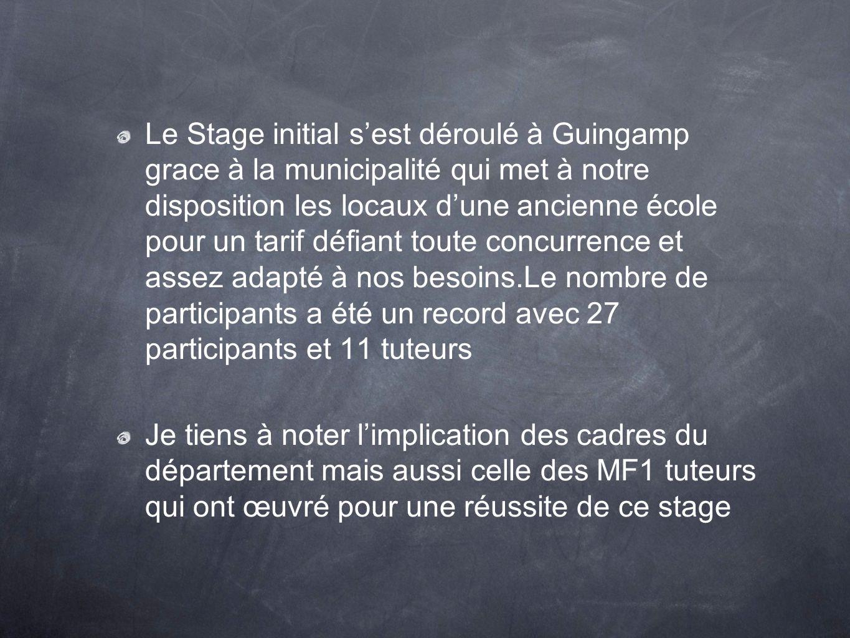 Le Stage initial sest déroulé à Guingamp grace à la municipalité qui met à notre disposition les locaux dune ancienne école pour un tarif défiant tout