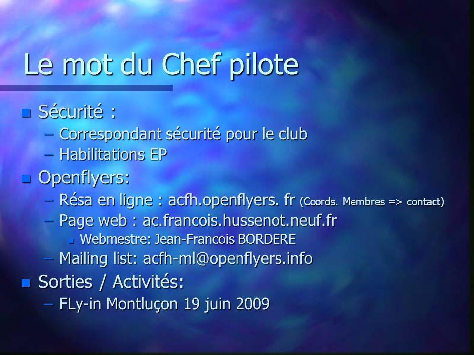 Vos instructeurs Vos instructeurs n M.Bouquet n D.
