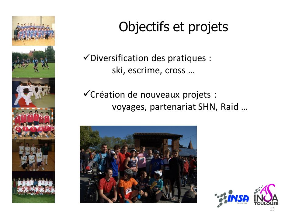 Objectifs et projets 13 Diversification des pratiques : ski, escrime, cross … Création de nouveaux projets : voyages, partenariat SHN, Raid …