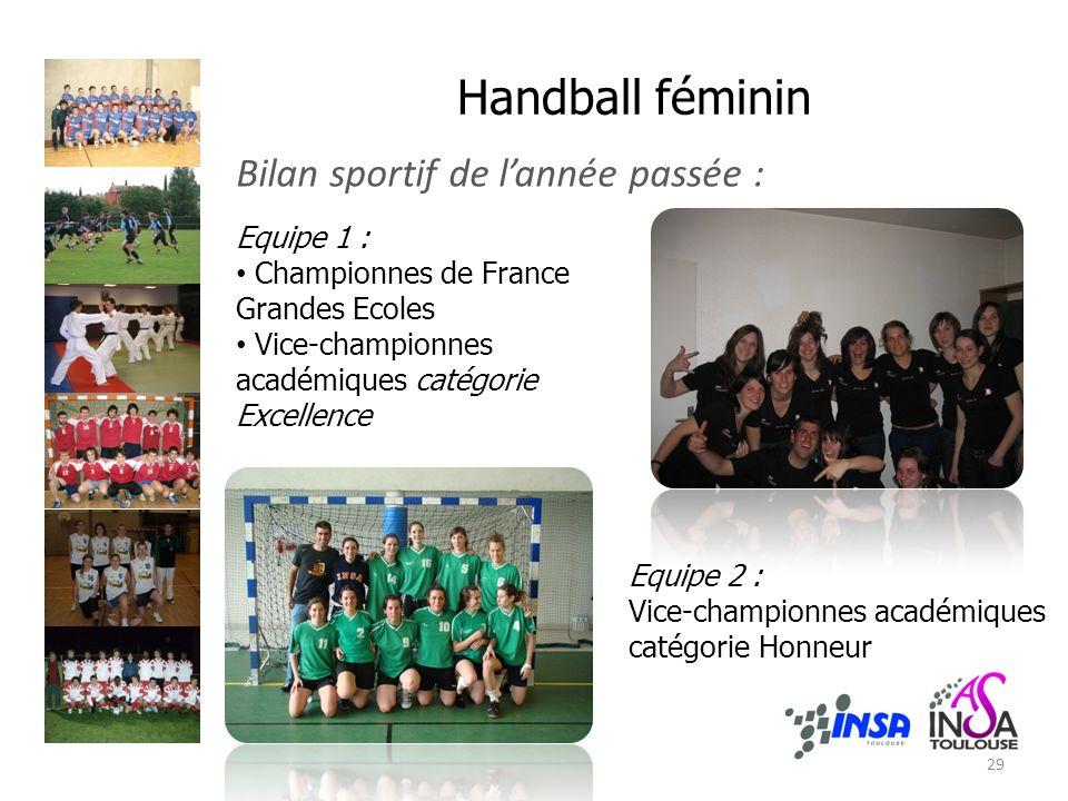 Handball féminin Bilan sportif de lannée passée : Equipe 1 : Championnes de France Grandes Ecoles Vice-championnes académiques catégorie Excellence Equipe 2 : Vice-championnes académiques catégorie Honneur 29
