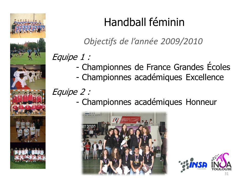 Handball féminin Objectifs de lannée 2009/2010 Equipe 1 : - Championnes de France Grandes Écoles - Championnes académiques Excellence Equipe 2 : - Championnes académiques Honneur 31