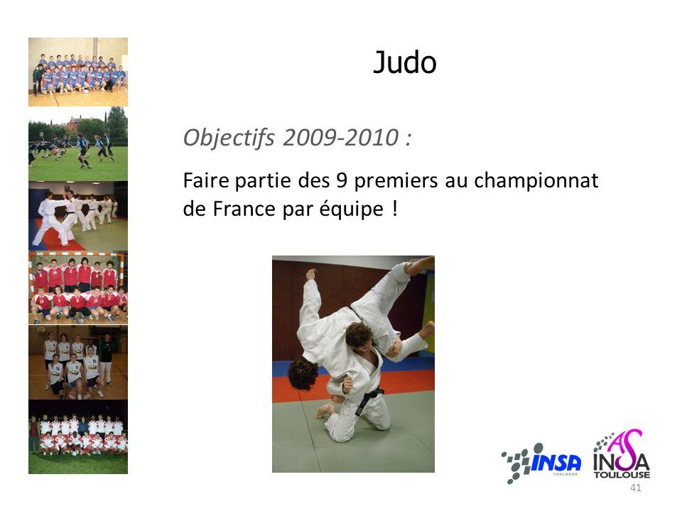 Judo Objectifs 2009-2010 : Faire partie des 9 premiers au championnat de France par équipe ! 41