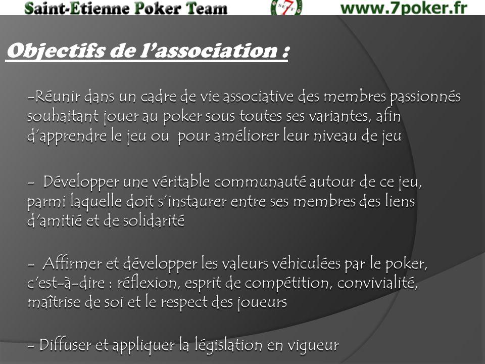 Objectifs de lassociation : -Réunir dans un cadre de vie associative des membres passionnés souhaitant jouer au poker sous toutes ses variantes, afin dapprendre le jeu ou pour améliorer leur niveau de jeu - Développer une véritable communauté autour de ce jeu, parmi laquelle doit sinstaurer entre ses membres des liens d amitié et de solidarité - Affirmer et développer les valeurs véhiculées par le poker, c est-à-dire : réflexion, esprit de compétition, convivialité, maîtrise de soi et le respect des joueurs - Diffuser et appliquer la législation en vigueur