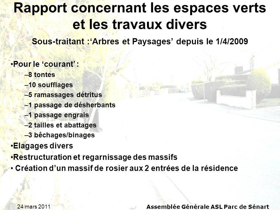 24 mars 2011 Assemblée Générale ASL Parc de Sénart Rapport concernant les espaces verts et les travaux divers Sous-traitant :Arbres et Paysages depuis