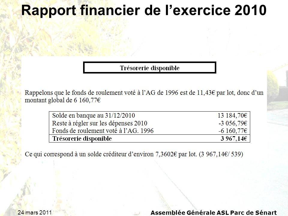 24 mars 2011 Assemblée Générale ASL Parc de Sénart Rapport financier de lexercice 2010