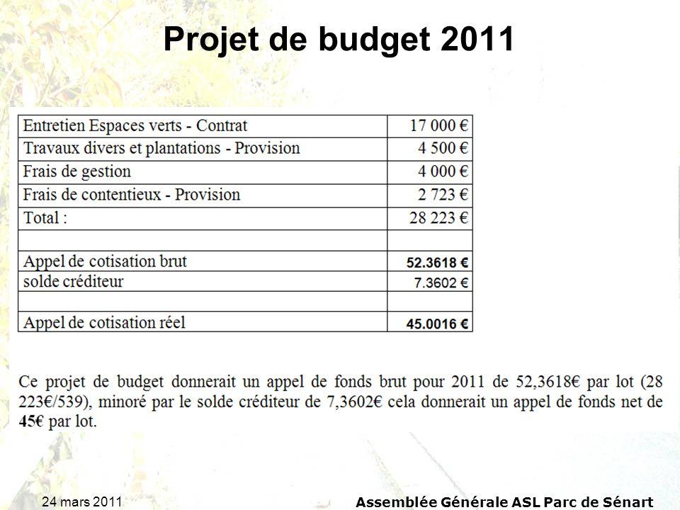 24 mars 2011 Assemblée Générale ASL Parc de Sénart Projet de budget 2011