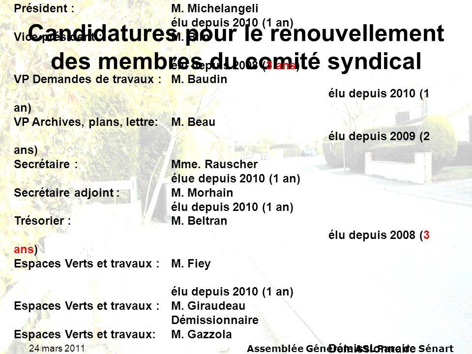 24 mars 2011 Assemblée Générale ASL Parc de Sénart Candidatures pour le renouvellement des membres du comité syndical Rappel du comité syndical 2010 :