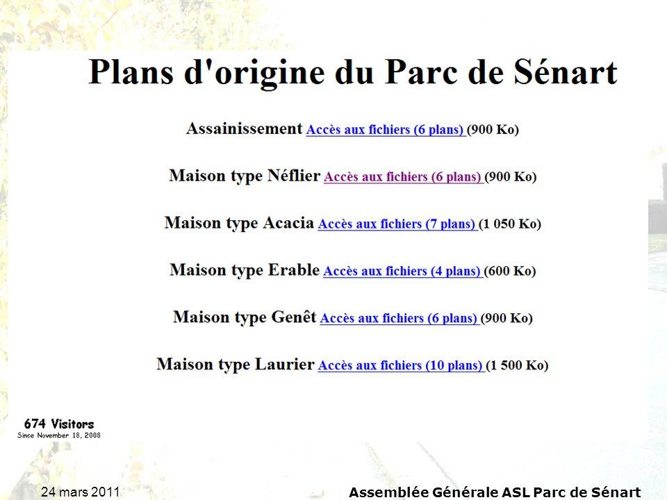 24 mars 2011 Assemblée Générale ASL Parc de Sénart