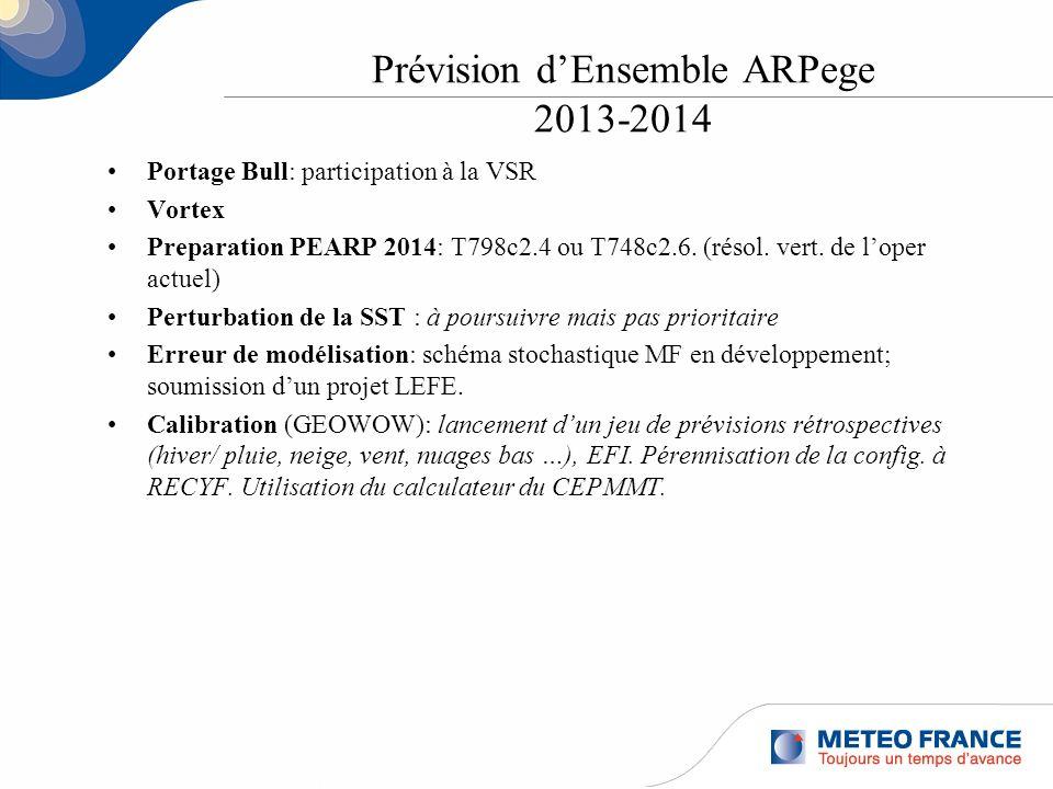 Prévision dEnsemble ARPege 2013-2014 Portage Bull: participation à la VSR Vortex Preparation PEARP 2014: T798c2.4 ou T748c2.6. (résol. vert. de loper