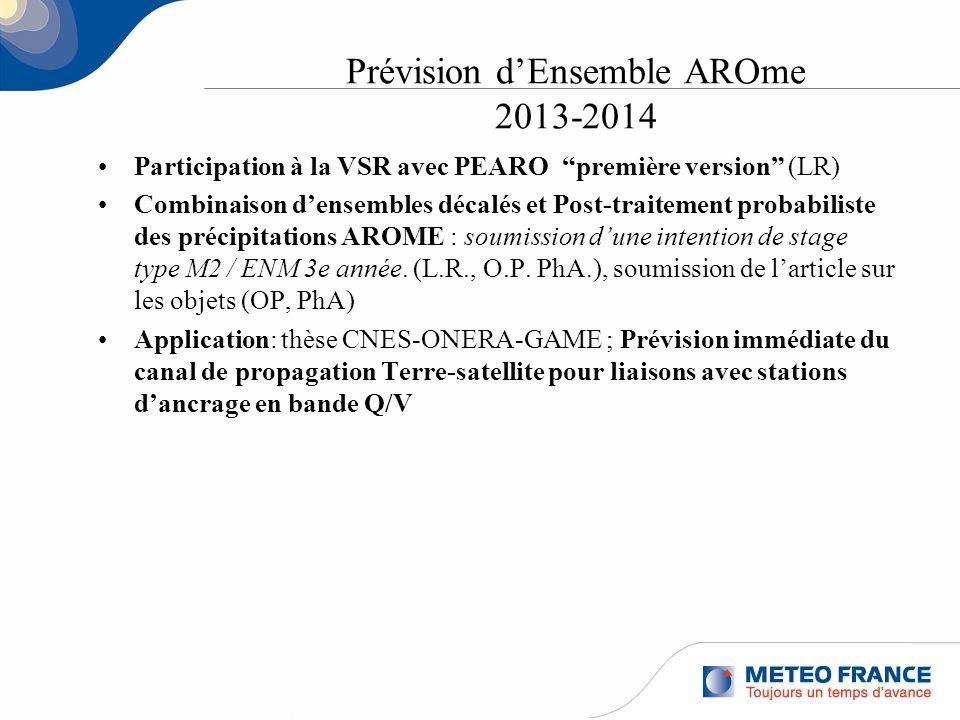 Prévision dEnsemble AROme 2013-2014 Participation à la VSR avec PEARO première version (LR) Combinaison densembles décalés et Post-traitement probabil