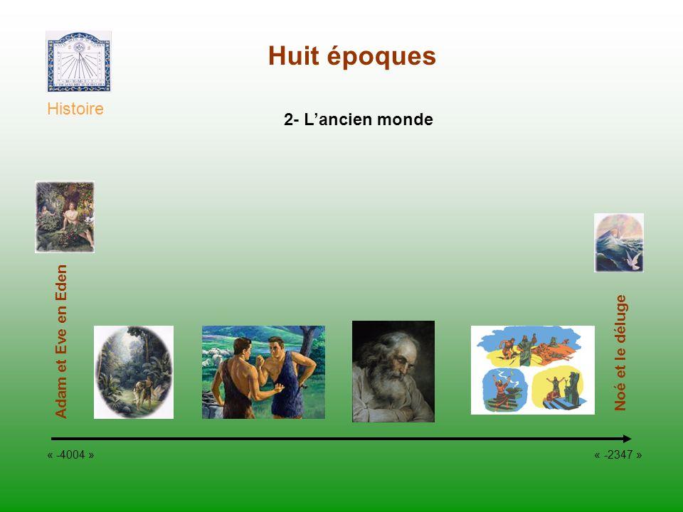 Huit époques Histoire « -4004 » « -2347 » Noé et le déluge 2- Lancien monde Adam et Eve en Eden