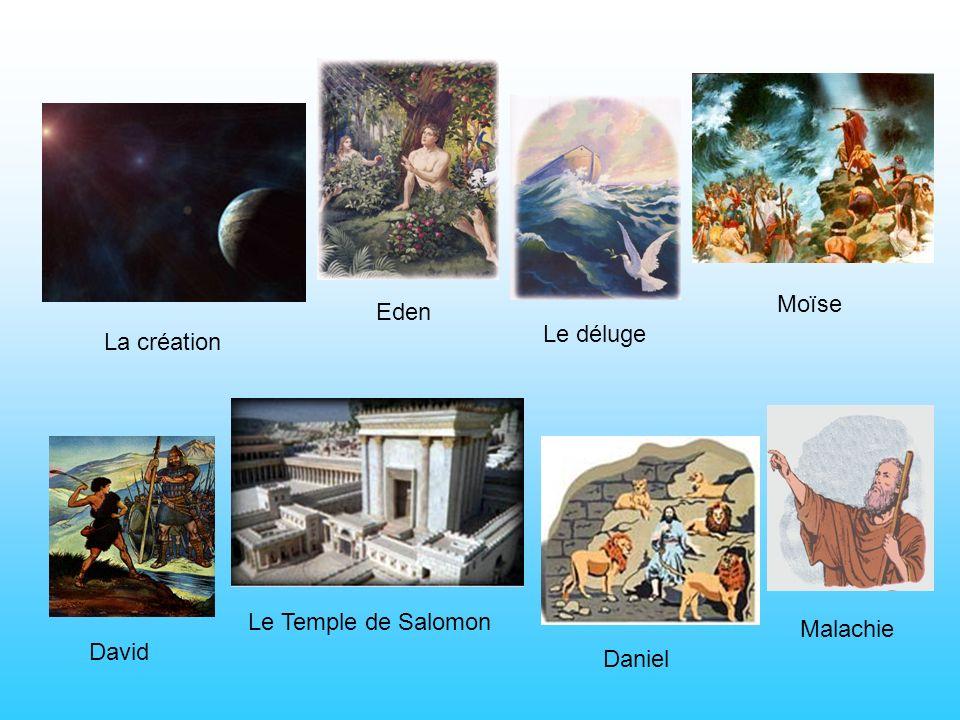 La création David Eden Le déluge Moïse Le Temple de Salomon Daniel Malachie
