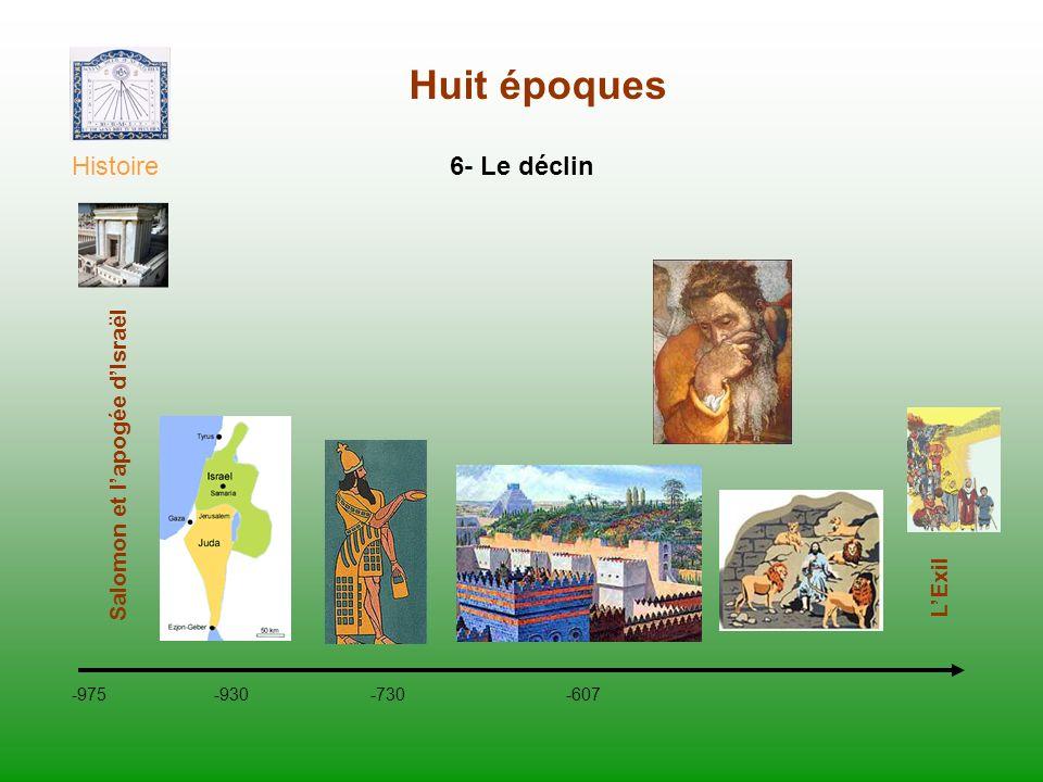 Huit époques Histoire -975 -930 -730 -607 Salomon et lapogée dIsraël 6- Le déclin LExil