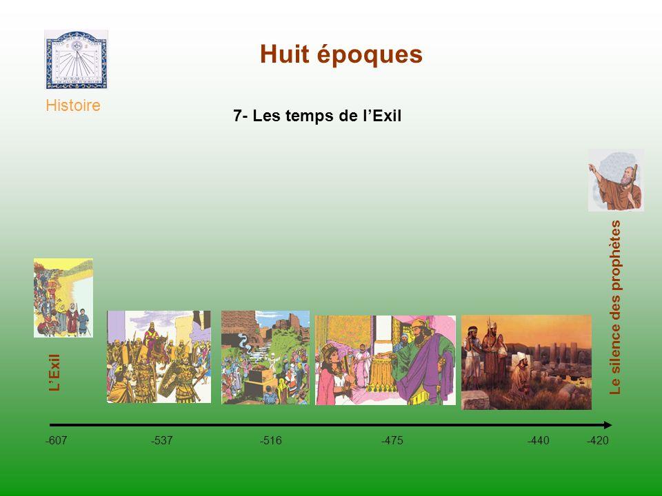 Huit époques Histoire -607 -537 -516 -475 -440 -420 Le silence des prophètes 7- Les temps de lExil LExil