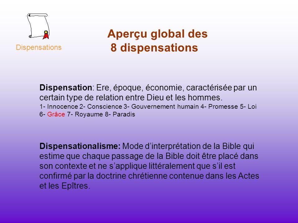 Aperçu global des 8 dispensations Dispensation: Ere, époque, économie, caractérisée par un certain type de relation entre Dieu et les hommes. 1- Innoc