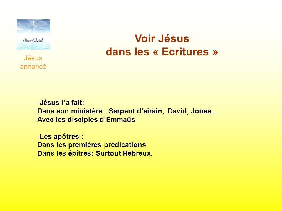 Voir Jésus dans les « Ecritures » Jésus annoncé -Jésus la fait: Dans son ministère : Serpent dairain, David, Jonas… Avec les disciples dEmmaüs -Les ap