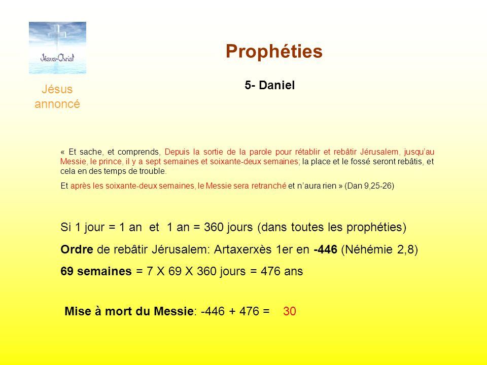 Jésus annoncé Prophéties 5- Daniel « Et sache, et comprends, Depuis la sortie de la parole pour rétablir et rebâtir Jérusalem, jusquau Messie, le prin