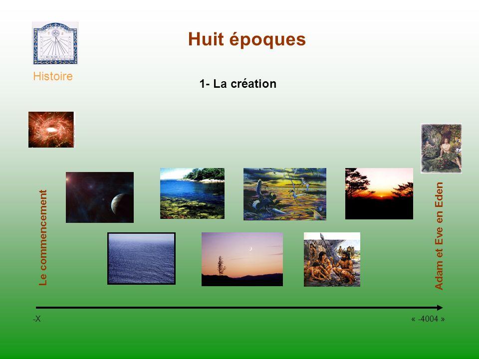 Huit époques Histoire -X « -4004 » 1- La création Le commencement Adam et Eve en Eden