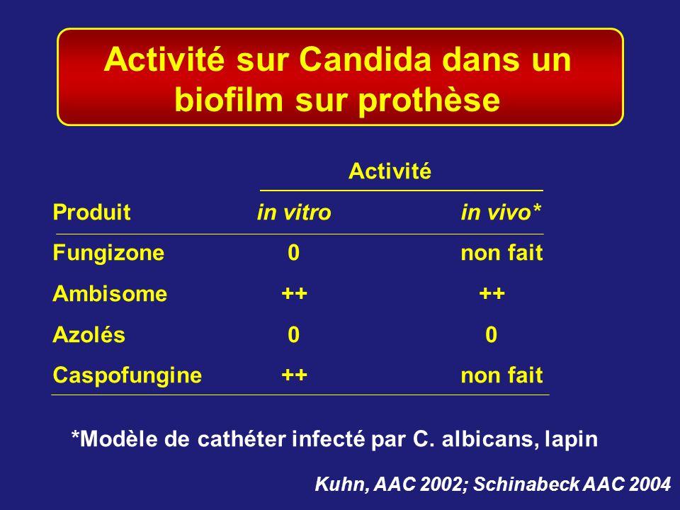 Activité sur Candida dans un biofilm sur prothèse Kuhn, AAC 2002; Schinabeck AAC 2004 Activité Produitin vitroin vivo* Fungizone 0non fait Ambisome ++