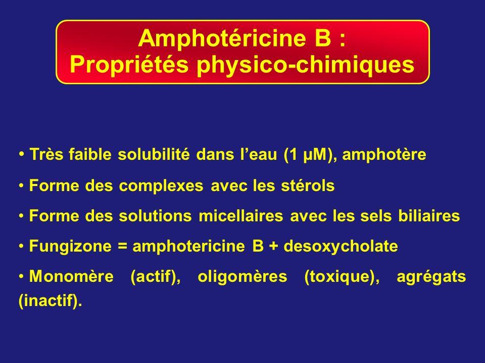 Amphotéricine B : Propriétés physico-chimiques Très faible solubilité dans leau (1 µM), amphotère Forme des complexes avec les stérols Forme des solut