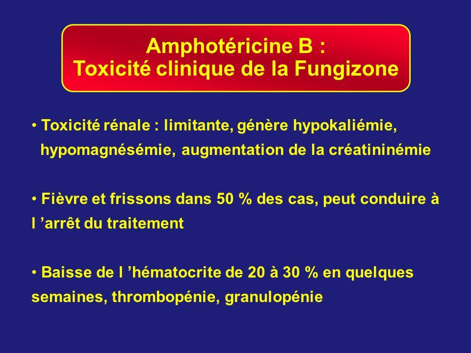 Amphotéricine B : Toxicité clinique de la Fungizone Toxicité rénale : limitante, génère hypokaliémie, hypomagnésémie, augmentation de la créatininémie