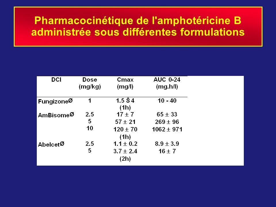 Pharmacocinétique de l'amphotéricine B administrée sous différentes formulations