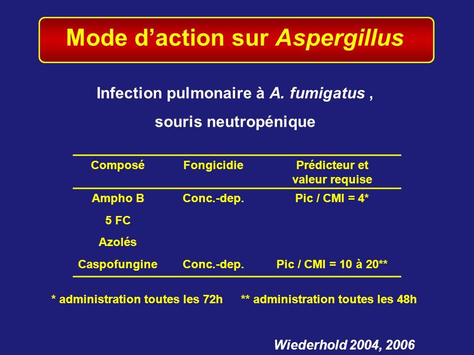 Mode daction sur Aspergillus Wiederhold 2004, 2006 Infection pulmonaire à A. fumigatus, souris neutropénique ComposéFongicidiePrédicteur et valeur req