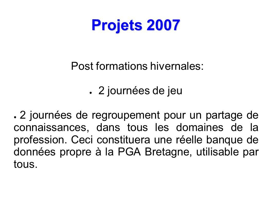 Projets 2007 Post formations hivernales: 2 journées de jeu 2 journées de regroupement pour un partage de connaissances, dans tous les domaines de la profession.