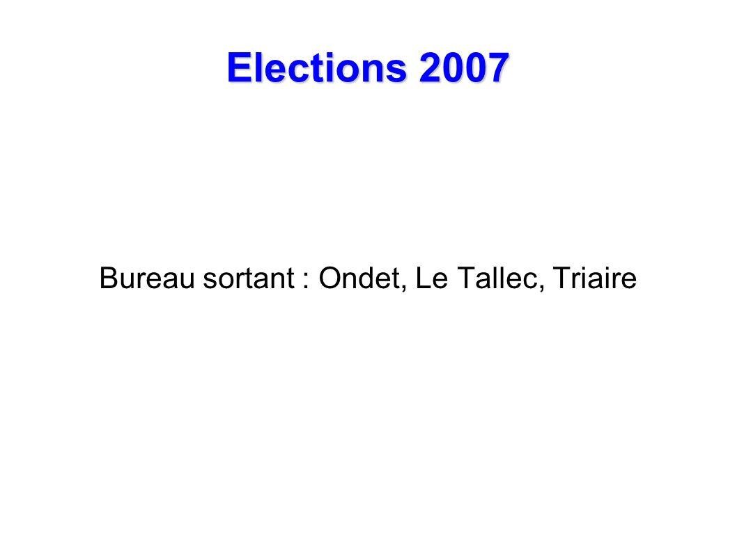 Elections 2007 Bureau sortant : Ondet, Le Tallec, Triaire