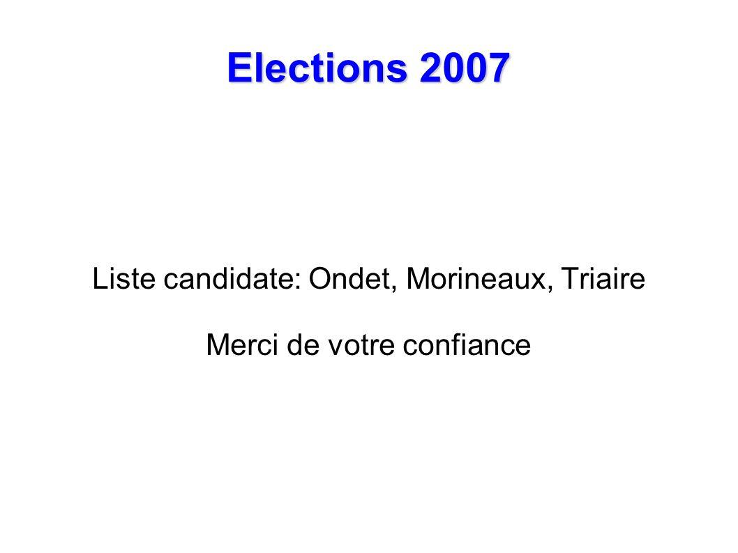 Elections 2007 Liste candidate: Ondet, Morineaux, Triaire Merci de votre confiance