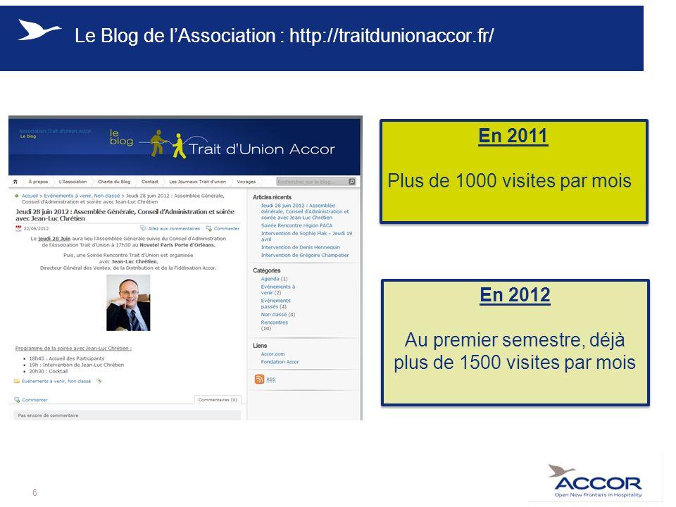 Le Blog de lAssociation : http://traitdunionaccor.fr/ 6 En 2011 Plus de 1000 visites par mois En 2011 Plus de 1000 visites par mois En 2012 Au premier semestre, déjà plus de 1500 visites par mois En 2012 Au premier semestre, déjà plus de 1500 visites par mois