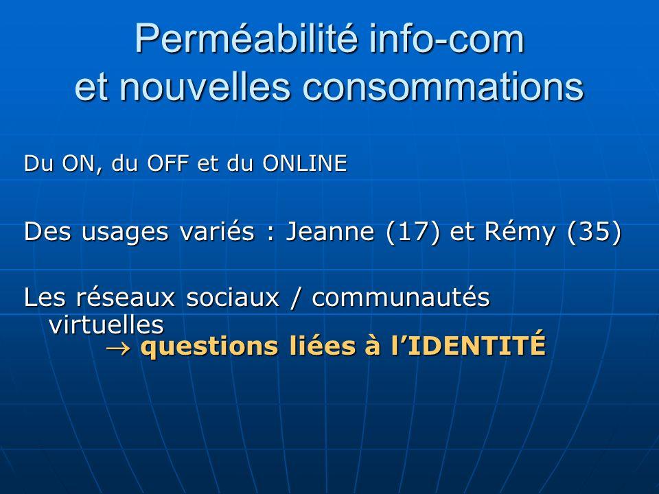 Perméabilité info-com et nouvelles consommations Du ON, du OFF et du ONLINE Des usages variés : Jeanne (17) et Rémy (35) Les réseaux sociaux / communa