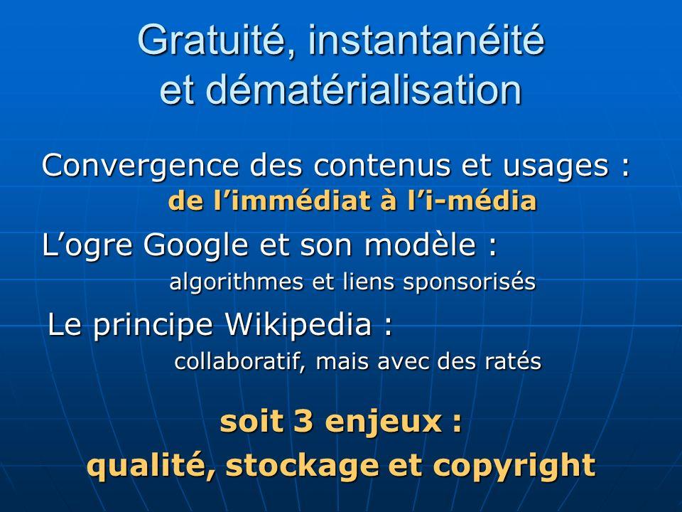 Gratuité, instantanéité et dématérialisation Convergence des contenus et usages : de limmédiat à li-média Logre Google et son modèle : Le principe Wik