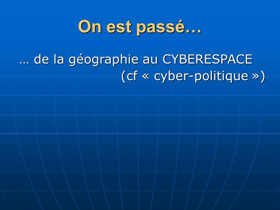 … de la géographie au CYBERESPACE (cf « cyber-politique »)