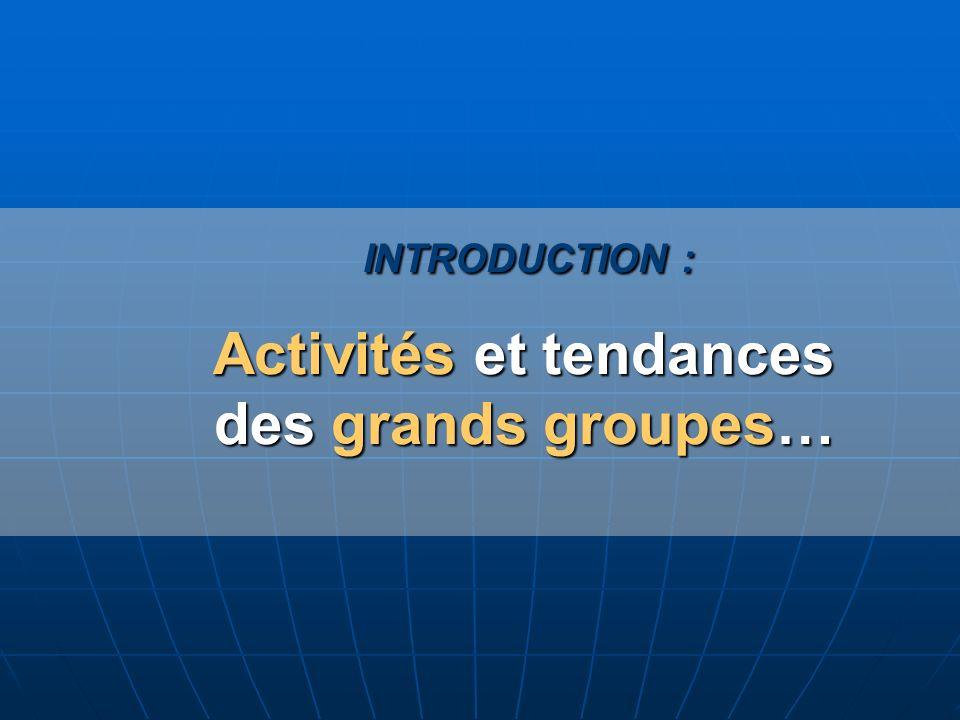 INTRODUCTION : Activités et tendances des grands groupes… INTRODUCTION : Activités et tendances des grands groupes…