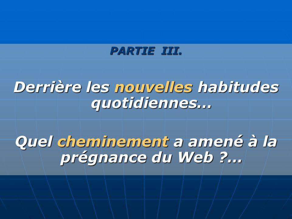 PARTIE III. Derrière les nouvelles habitudes quotidiennes… Quel cheminement a amené à la prégnance du Web ?…