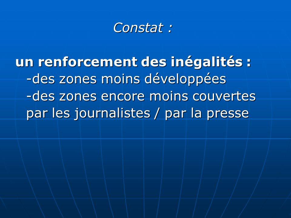 Constat : un renforcement des inégalités : -des zones moins développées -des zones encore moins couvertes par les journalistes / par la presse