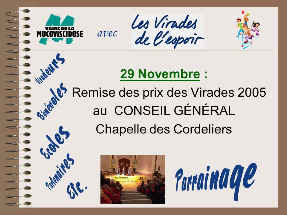 29 Novembre : Remise des prix des Virades 2005 au CONSEIL GÉNÉRAL Chapelle des Cordeliers avec