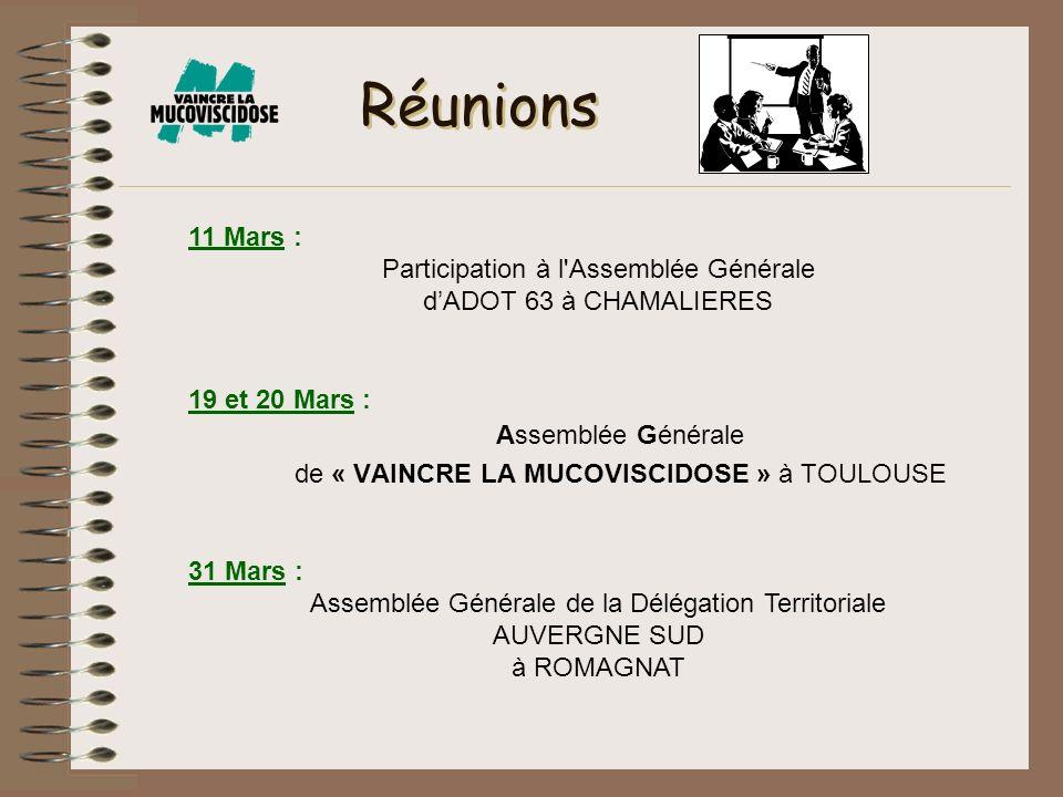 Réunions 19 et 20 Mars : Assemblée Générale de « VAINCRE LA MUCOVISCIDOSE » à TOULOUSE 11 Mars : Participation à l'Assemblée Générale dADOT 63 à CHAMA