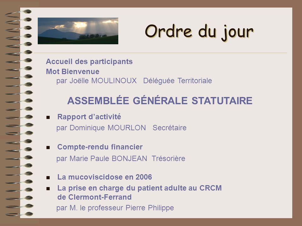 Ordre du jour n Rapport dactivité par Dominique MOURLON Secrétaire n Compte-rendu financier par Marie Paule BONJEAN Trésorière Mot Bienvenue par Joëll
