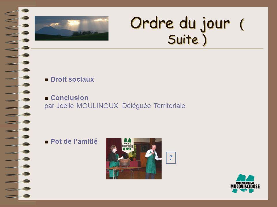 n Droit sociaux n Conclusion par Joëlle MOULINOUX Déléguée Territoriale n Pot de lamitié Ordre du jour ( Suite ) ?