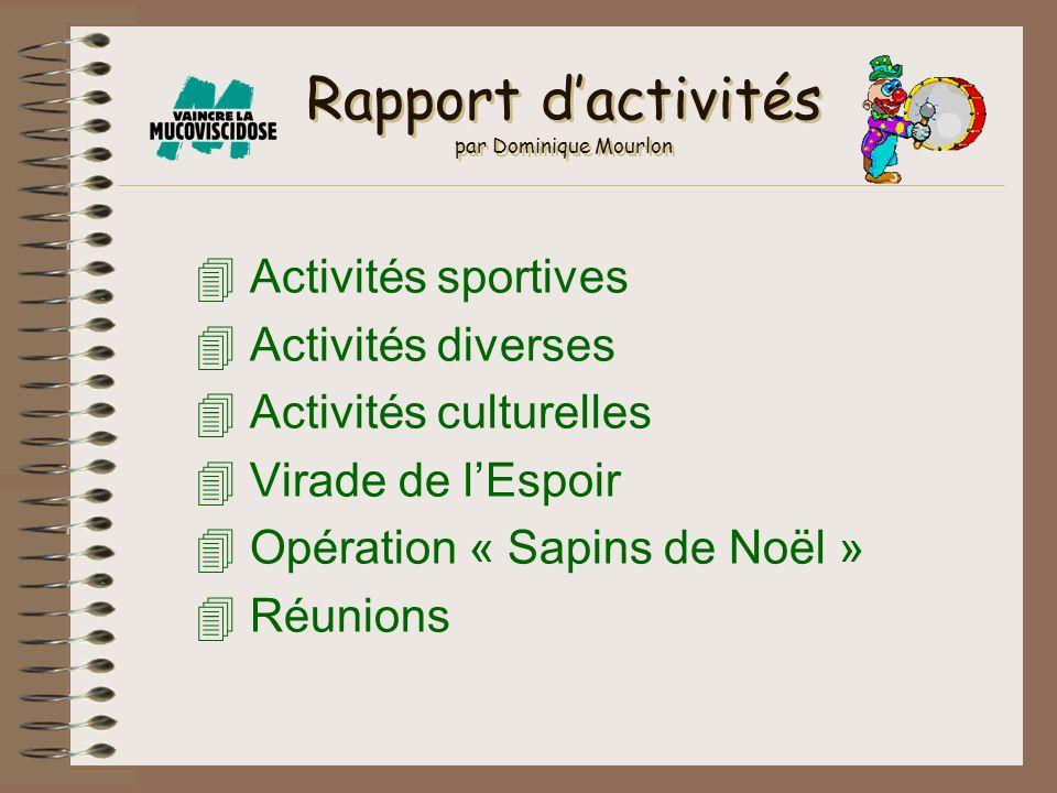 Rapport dactivités par Dominique Mourlon 4 Activités sportives 4 Activités diverses 4 Activités culturelles 4 Virade de lEspoir 4 Opération « Sapins d