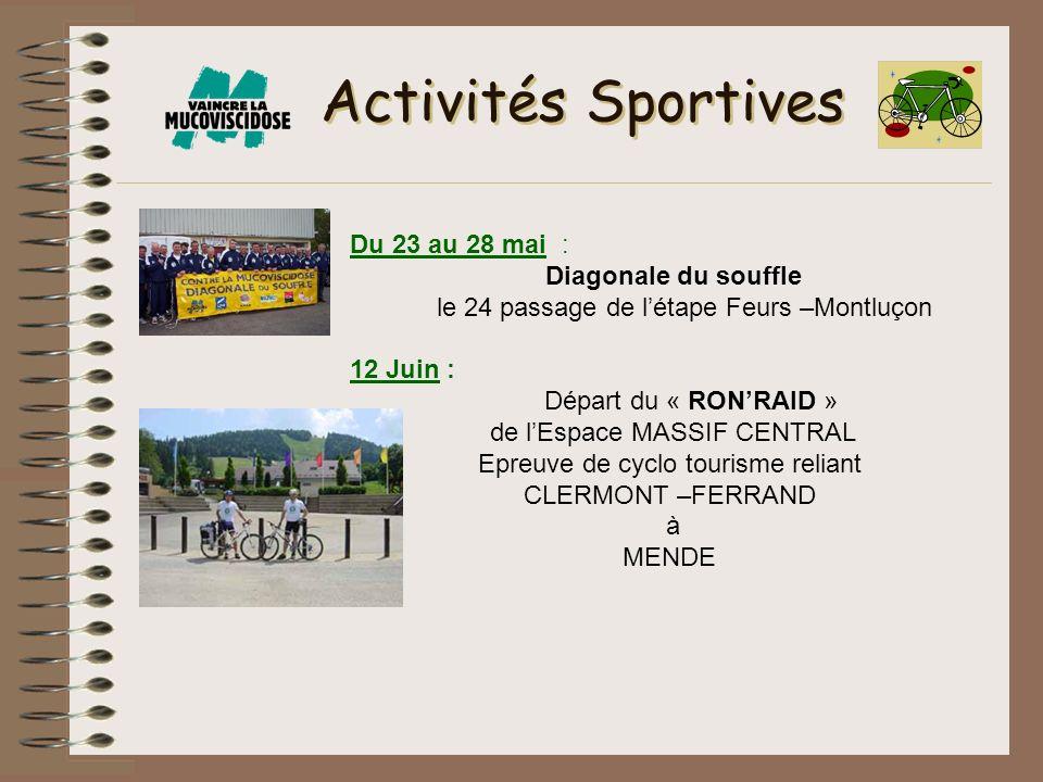 Activités Sportives Du 23 au 28 mai : Diagonale du souffle le 24 passage de létape Feurs –Montluçon 12 Juin : Départ du « RONRAID » de lEspace MASSIF