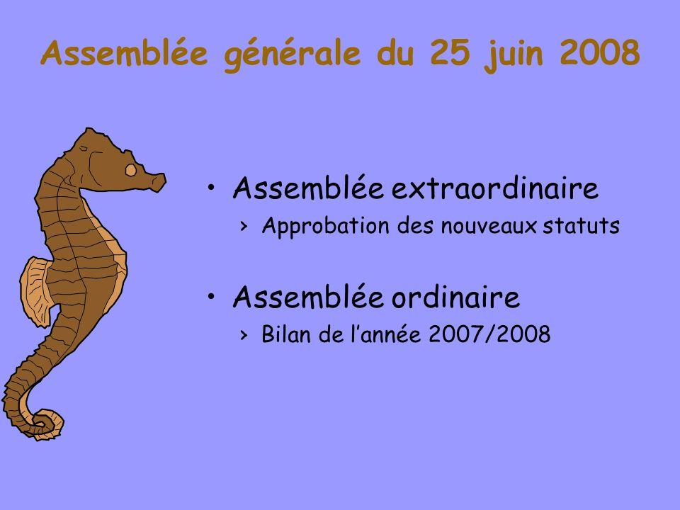 Assemblée générale du 25 juin 2008 Assemblée extraordinaire Approbation des nouveaux statuts Assemblée ordinaire Bilan de lannée 2007/2008